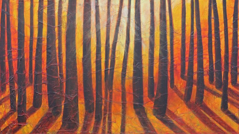 AM Stockhill, Sunlight Through the Trees, Earth Landscape Series, mixed media, 42x24