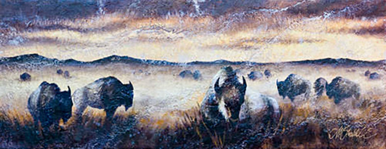 AM Stockhill, Stone Herd Resting, Rockwall Series, mixed media, 59x24