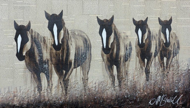 AM Stockhill, The Sound of Hoofs, Texture Fusion Series, mixed media, 42x24