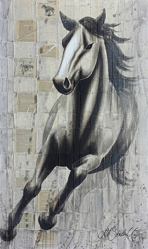 AM Stockhill, Rider of the Plains, Woven Series, mixed media, 35x59