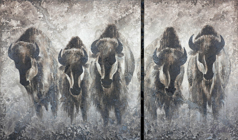 AM Stockhill, High Meanings, Rockwall Series, mixed media, 60x36 diptych