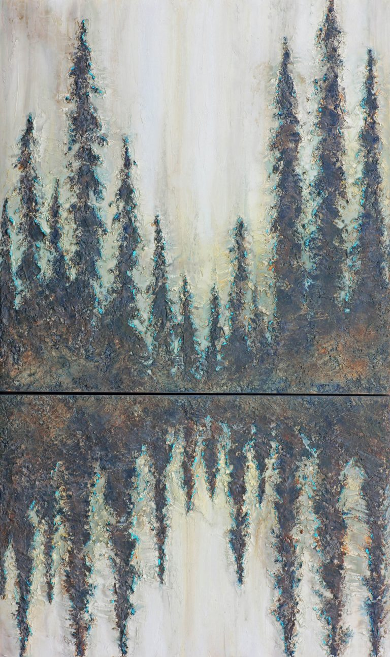AM Stockhill, Fruit of Tears, Earth Landscape Series, mixed media, 36x60 Diptych