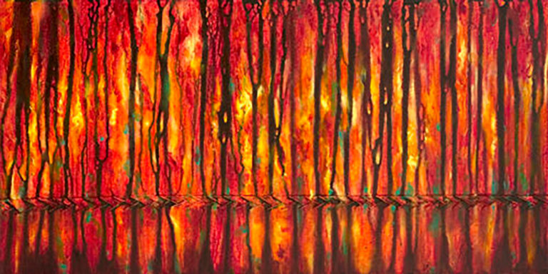 AM Stockhill, Bitterroot Fire Season, Earth Landscape Series, mixed media