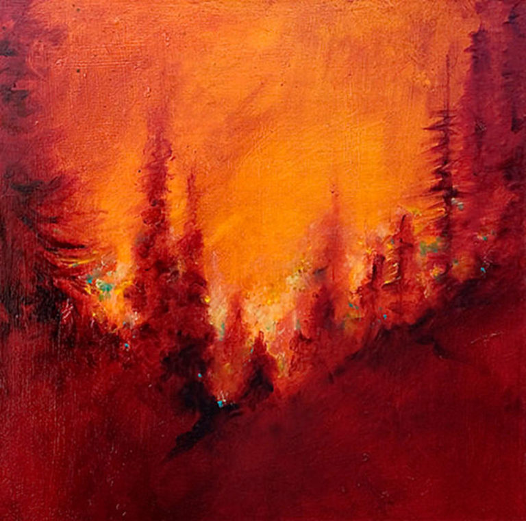 AM Stockhill, Fire Season, Earth Landscape Series, mixed media