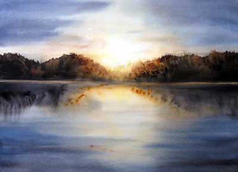 AM Stockhill, Lake Sunset, watercolor