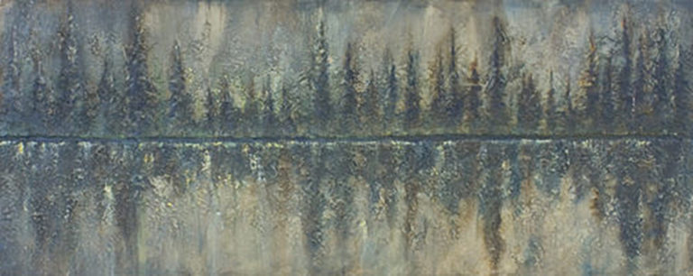 AM Stockhill, Winter Fire Reflection, Earth Landscape Series, mixed media