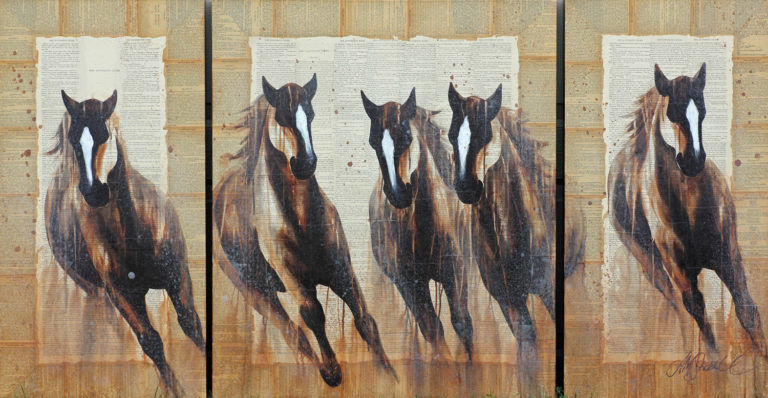 AM Stockhill, The Mysterious Rider, Book Series, mixed media, 66x35 triptych