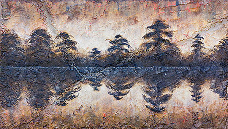 AM Stockhill, Into My Thoughts, Earth Landscape Series, mixed media, 42x24