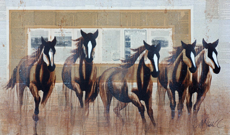 AM Stockhill, The Patter of Hoofs, Book Series, mixed media, 59x35
