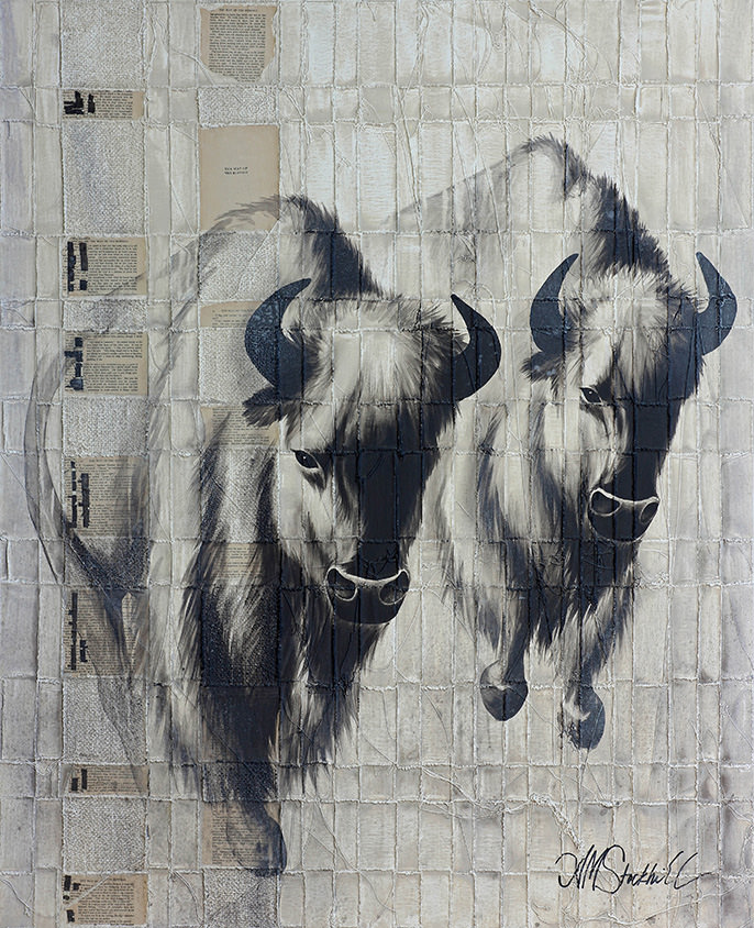 AM Stockhill, The Way of the Buffalo, Woven Series, mixed media, 48x59