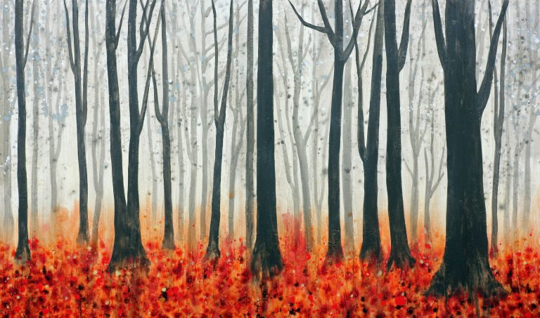 AM Stockhill, The Leaves Fall Red, Earth Landscape Series, mixed media, 59x35