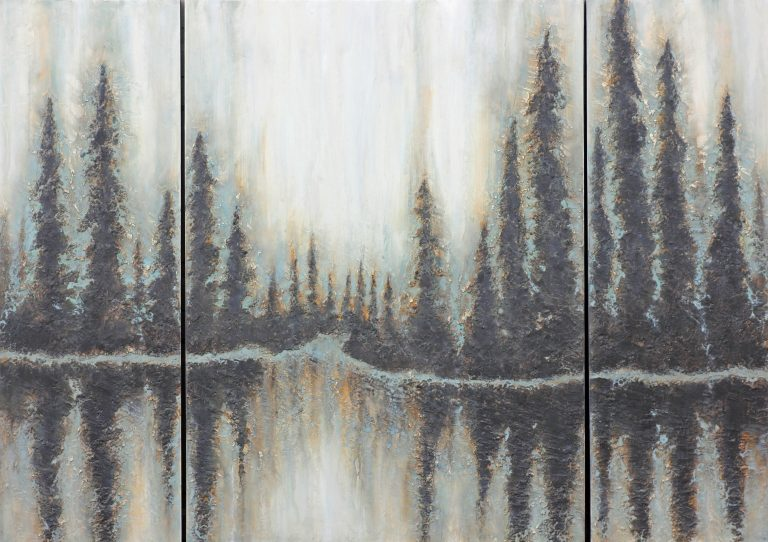 AM Stockhill, Through the Narrows, Earth Landscape Series, mixed media, 42x24 Triptych