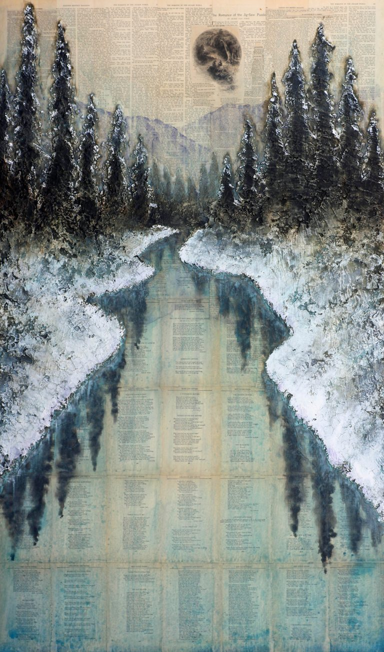 AM Stockhill, From the Echoless Shore, Earth Landscape Series, mixed media, 35x59