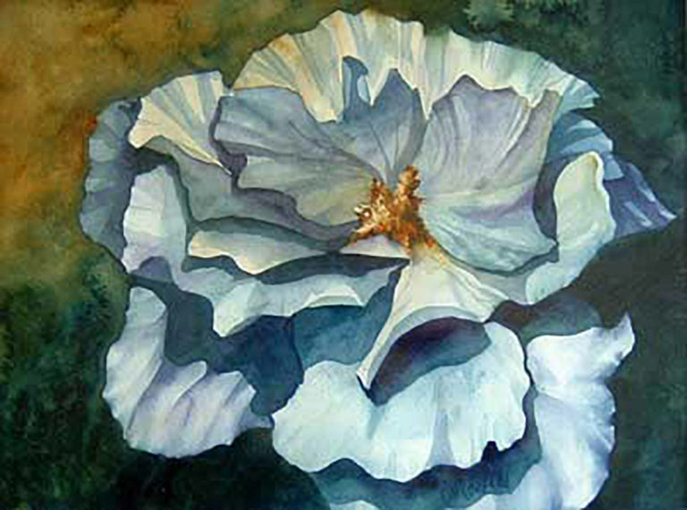 AM Stockhill, Blue Flower, watercolor