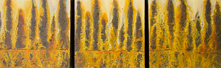 AM Stockhill, Burnt Gold Forest, Earth Landscape Series, triptych, mixed media