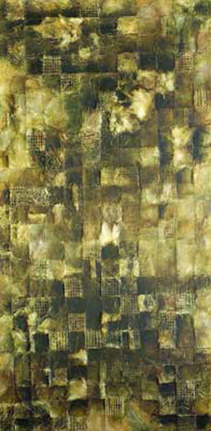 AM Stockhill, Green Squares, mixed media