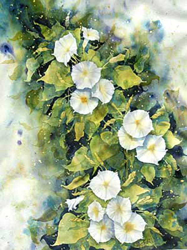 AM Stockhill, Morning Glories, watercolor